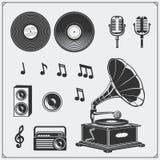 Retro muzyczni pracowniani emblematy, etykietki, odznaki i projektów elementy, Obrazy Royalty Free