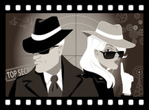 Retro mystery movie. Mysterious couple of secret agents in an old movie frame, vector illustration, no transparencies, EPS 8 vector illustration
