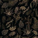 Retro naadloos patroon Hand getrokken vectorillustraties - botanisch Forest Autumn, eikels, denneappels, esdoorn gaat weg Ontwerp stock foto's
