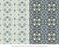 Retro Naadloos Patroon 2 Kleur Set_041 om Spiraalvormige Bloem Royalty-vrije Stock Foto's