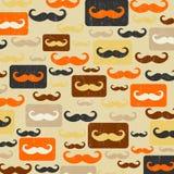 Retro naadloos patroon met snor stock illustratie