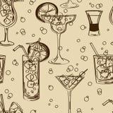 Retro naadloos patroon van cocktails Stock Afbeeldingen