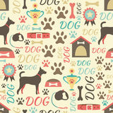 Retro naadloos patroon van hondpictogrammen eindeloos Royalty-vrije Stock Afbeeldingen