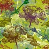 Retro naadloos rozenpatroon. Vector Illustratie Stock Foto