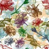 Retro naadloos rozenpatroon. Vector Illustratie Stock Afbeelding