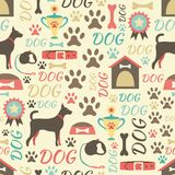 Retro naadloos vectorpatroon van hondpictogrammen Royalty-vrije Stock Foto's