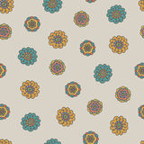 Retro naadloze patroon van de krabbelbloem Royalty-vrije Stock Foto