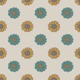Retro naadloze patroon van de krabbelbloem Stock Fotografie