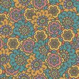 Retro naadloze patroon van de krabbelbloem Royalty-vrije Stock Afbeeldingen