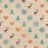 Retro naadloze patroon van Kerstmis Stock Foto