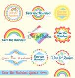 Retro Nad Tęczy Etykietkami i Majcherami Fotografia Royalty Free