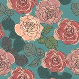 Retro- nahtlose Beschaffenheit der Rosen stock abbildung