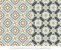 Retro- nahtlose Stern-Blume des Muster-2 runde quadratische der Farbeset_014 Lizenzfreie Stockbilder