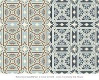 Retro- nahtloser Kreuz-Geometrie-Stern Flowe des Muster-2 der Farbeset_025 Stockfoto