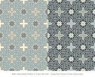 Retro- nahtloses Kreuz-Stern-Rahmen-Ketten-GE des Muster-2 der Farbeset_245 Lizenzfreie Stockfotos