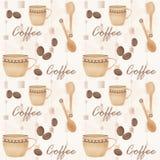 Retro- nahtloses Muster mit Schale von coffe und von Löffel Lizenzfreie Stockfotografie
