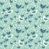 Retro- nahtloses Muster von modernen Vögeln der netten Mitte des Jahrhunderts stock abbildung