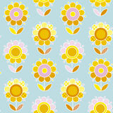 Retro naive Flower summer color seamless vector pattern Royalty Free Stock Photos