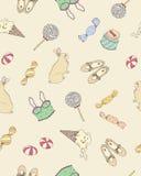 Retro nastoletnich dziewczyn rzeczy Bezszwowy wzór Śliczny moda wektoru tło Obraz Royalty Free