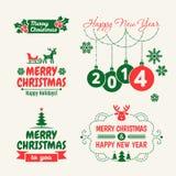 Retro Natale d'annata fissato con tipografia Fotografia Stock