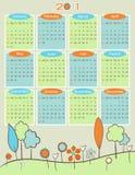 retro natur för 2011 kalender Arkivbild