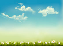 Retro naturbakgrund med grönt gräs och himmel. stock illustrationer