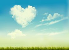 Retro nature background with blue sky with hearts shape clouds. Vector illustration Royalty Free Stock Photo