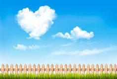 Retro nature background with blue sky with hearts shape clouds. Vector illustration stock illustration