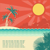 Retro nature tropical seascape background with isl Stock Photos