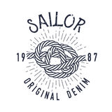 Retro nautical label with knot, sunburst and lettering. Vector illustration. Royalty Free Stock Image