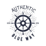 Retro nautical label with wheel, sunburst and lettering. Vector illustration. Stock Photo