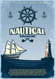 Retro Nautical Poster. With title sail around the world nautical adventure headlines vector illustration Stock Photos