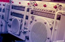 Retro naval radio communication equipment. A retro radio communication equipment with operating instructions Royalty Free Stock Image