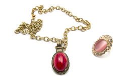 Retro necklace and ring Stock Images