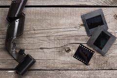 Retro negativ film och glidbanor Royaltyfria Foton
