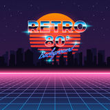 Retro neon abstract Sci-Fi vector background in Stock Images