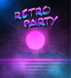 Retro Neon Background. 1980 Neon Poster. Retro Disco 80s Backgro Stock Photography