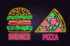 Retro neon burger and pizza sign on brick wall background. Design for fast food cafe. Vector. Neon design for shop, bar, pub or fast food business. Light stock illustration