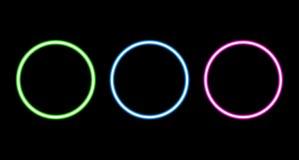 Retro neon circle set isolated on black background.  royalty free illustration