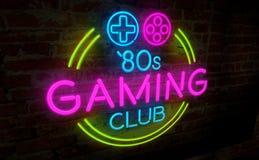 Retro neon di gioco illustrazione di stock