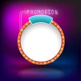 Retro neon för befordran för tappningcirkelram stock illustrationer