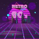Retro neon för design för stil80-taldisko vektor illustrationer