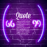Retro neon glowing quote marks frame on the wall Stock Photos
