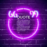 Retro neon glowing quote marks frame on the wall Royalty Free Stock Images