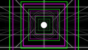 Retro Neon Grid Squares and Circle Pop Loop