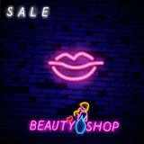 Retro neon lips sign. Design element for Happy Valentine`s Day. Ready for your design, greeting card, banner. Vector stock illustration