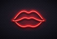 Retro neon lips sign. Romantic kiss, kissing couple lip bar red neons lamps and valentine romance club vector vector illustration