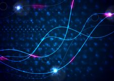 Retro neon 80s shiny wavy lines abstract background Stock Images