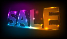 Retro neon sale banner. Royalty Free Stock Photos