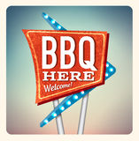 Retro Neon Sign BBQ. Lettering in the style of American roadside advertising vintage style 1950s Stock Image